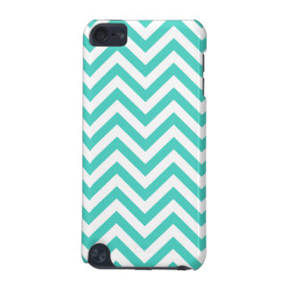 Teal Blue and White Zigzag Stripes Chevron Pattern iPod Touch 5G Cases