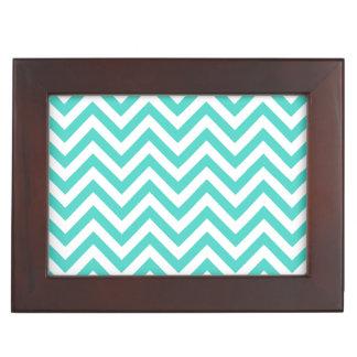 Teal Blue and White Zigzag Stripes Chevron Pattern Keepsake Box
