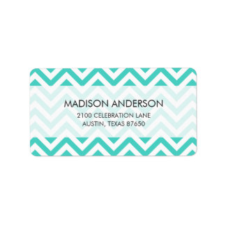 Teal Blue and White Zigzag Stripes Chevron Pattern Label