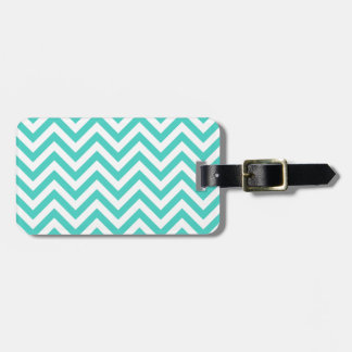 Teal Blue and White Zigzag Stripes Chevron Pattern Luggage Tag