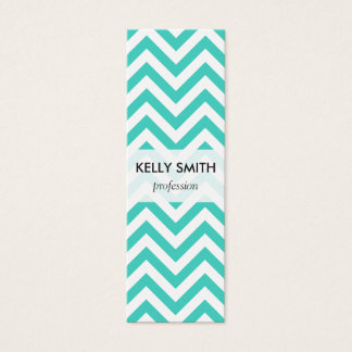 Teal Blue and White Zigzag Stripes Chevron Pattern Mini Business Card
