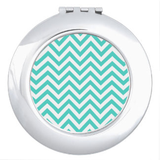 Teal Blue and White Zigzag Stripes Chevron Pattern Mirror For Makeup