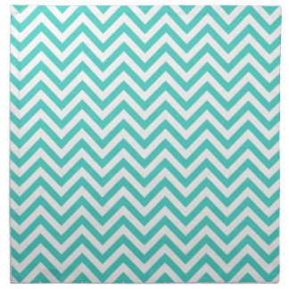 Teal Blue and White Zigzag Stripes Chevron Pattern Napkin