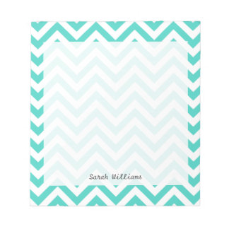 Teal Blue and White Zigzag Stripes Chevron Pattern Notepad