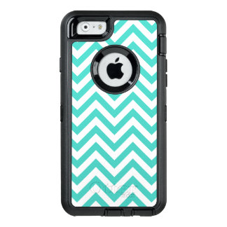 Teal Blue and White Zigzag Stripes Chevron Pattern OtterBox Defender iPhone Case