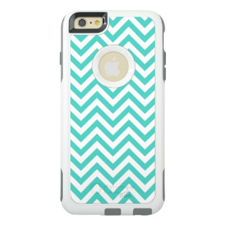 Teal Blue and White Zigzag Stripes Chevron Pattern OtterBox iPhone 6/6s Plus Case
