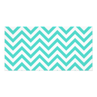 Teal Blue and White Zigzag Stripes Chevron Pattern Personalised Photo Card