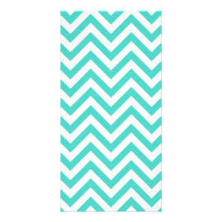 Teal Blue and White Zigzag Stripes Chevron Pattern Photo Cards