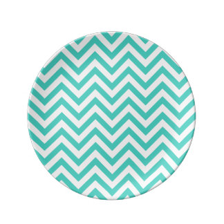 Teal Blue and White Zigzag Stripes Chevron Pattern Plate
