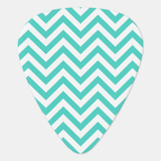 Teal Blue and White Zigzag Stripes Chevron Pattern Plectrum