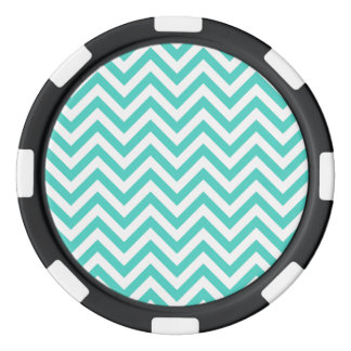 Teal Blue and White Zigzag Stripes Chevron Pattern Poker Chips
