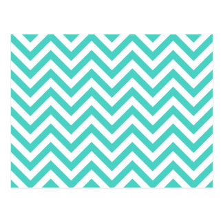 Teal Blue and White Zigzag Stripes Chevron Pattern Postcard