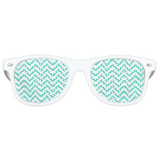 Teal Blue and White Zigzag Stripes Chevron Pattern Retro Sunglasses