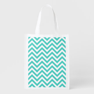 Teal Blue and White Zigzag Stripes Chevron Pattern Reusable Grocery Bag