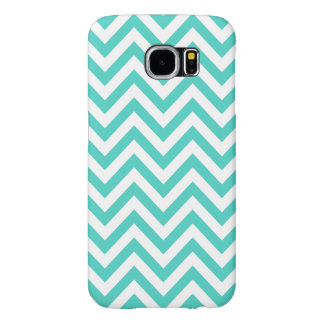 Teal Blue and White Zigzag Stripes Chevron Pattern Samsung Galaxy S6 Cases