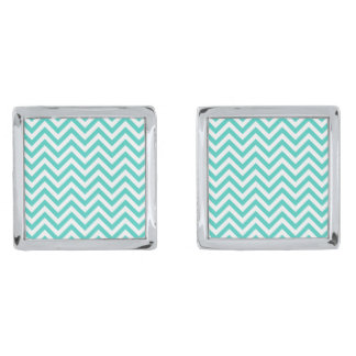 Teal Blue and White Zigzag Stripes Chevron Pattern Silver Finish Cuff Links
