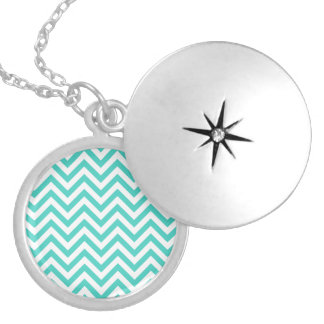 Teal Blue and White Zigzag Stripes Chevron Pattern Silver Plated Necklace