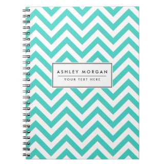 Teal Blue and White Zigzag Stripes Chevron Pattern Spiral Notebooks