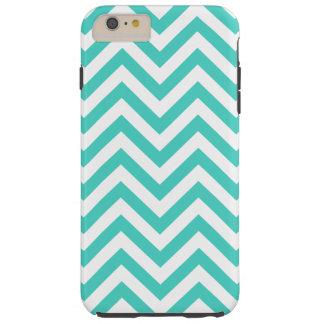 Teal Blue and White Zigzag Stripes Chevron Pattern Tough iPhone 6 Plus Case