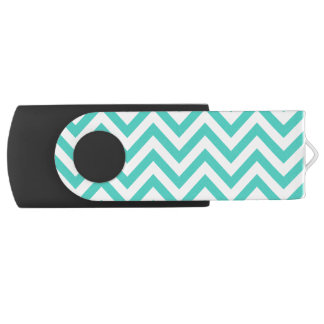 Teal Blue and White Zigzag Stripes Chevron Pattern USB Flash Drive