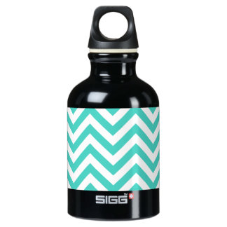 Teal Blue and White Zigzag Stripes Chevron Pattern Water Bottle