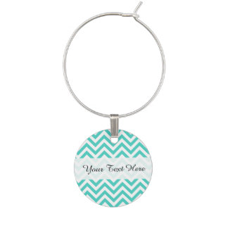 Teal Blue and White Zigzag Stripes Chevron Pattern Wine Charm