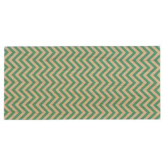 Teal Blue and White Zigzag Stripes Chevron Pattern Wood USB Flash Drive