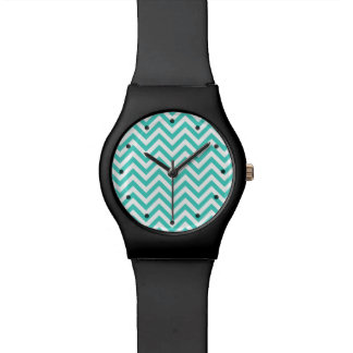 Teal Blue and White Zigzag Stripes Chevron Pattern Wrist Watch