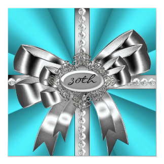 Teal Blue Aqua Silver Bow 30th Black White Gems Card