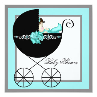 Teal Blue Baby Carriage Baby Shower Card