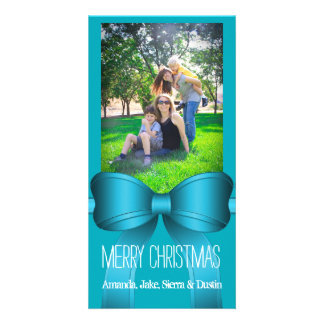 Teal Blue Big Bow Christmas Photo Gift Personalised Photo Card