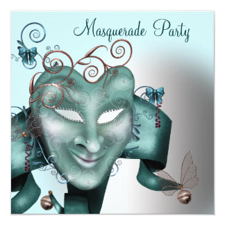 Teal Blue Birthday Masquerade Party Card