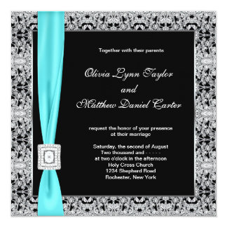 """Teal Blue Black and Silver Wedding 5.25"""" Square Invitation Card"""