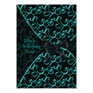 Teal Blue Black Birthday Party Invitation Template