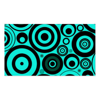 Teal Blue Black Bright Retro Circles Pattern Business Cards