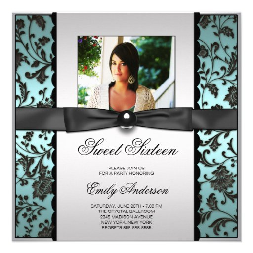 Teal Blue Black Damask Photo Sweet 16 Party Announcement