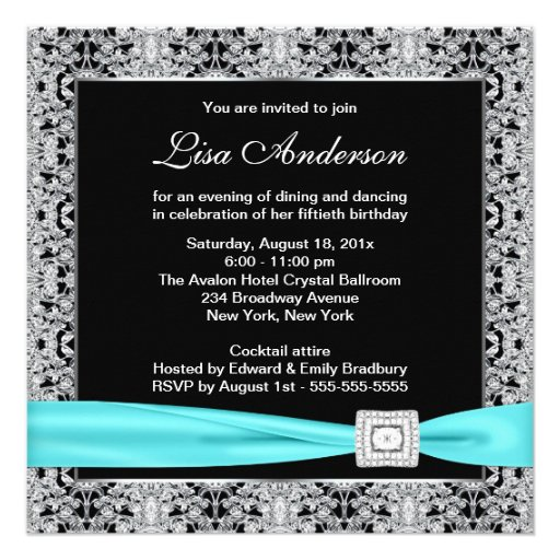 Teal Blue Black Lace Womans 50th Birthday Party Custom Invitations