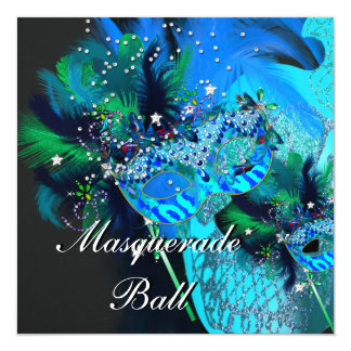 Teal Blue Black Masks Masquerade Ball Party 13 Cm X 13 Cm Square Invitation Card
