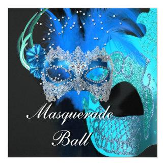 Teal Blue Black Masks Masquerade Ball Party Card