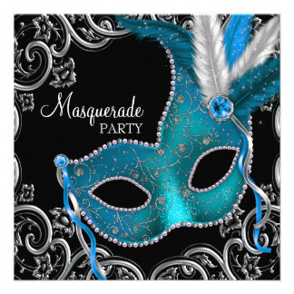 Teal Blue Black Masquerade Party Personalised Invitations