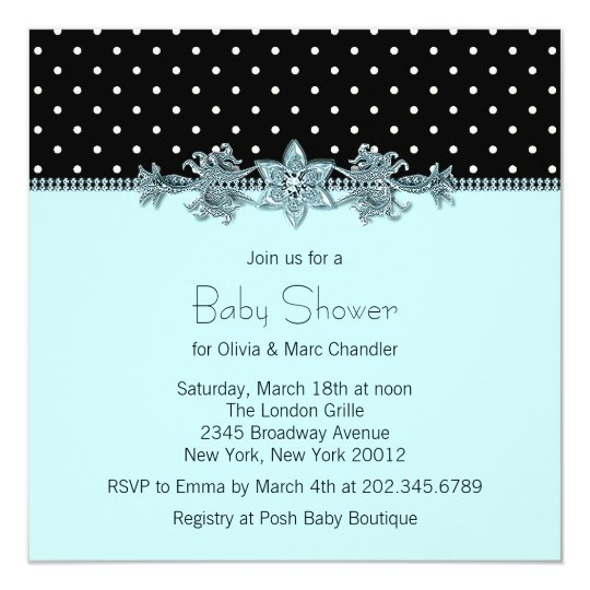 Teal Blue Black Polka Dot Baby Shower Card