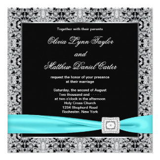 Teal Blue Black Silver Lace Classy Wedding Invitations