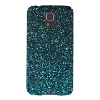 Teal blue black sparkly glitter galaxy s5 cover