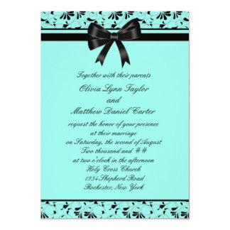 "Teal Blue Black Swirl Aqua 5x7 Wedding Invitation 5"" X 7"" Invitation Card"