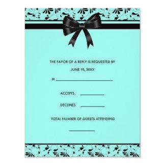 "Teal Blue Black Swirl Aqua Invitation RSVP Card 4.25"" X 5.5"" Invitation Card"