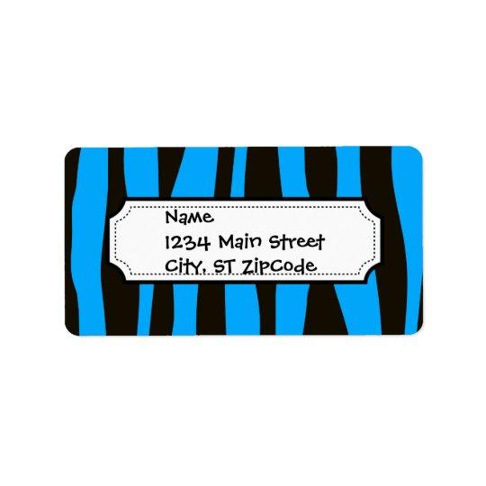 Teal Blue Black Tiger Zebra Stripes Wild Animal Label