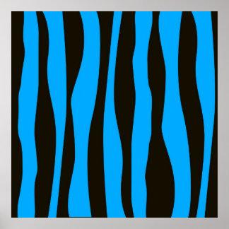 Teal Blue Black Tiger Zebra Stripes Wild Animal Posters