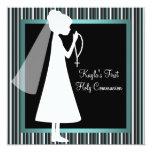 Teal Blue Black White Rosary Girls First Communion 13 Cm X 13 Cm Square Invitation Card