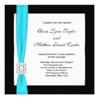 Teal Blue Black White Teal Bow Wedding Personalized Announcements