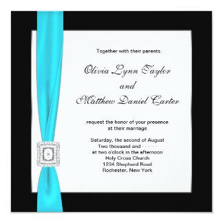 "Teal Blue Black White Teal Bow Wedding 5.25"" Square Invitation Card"